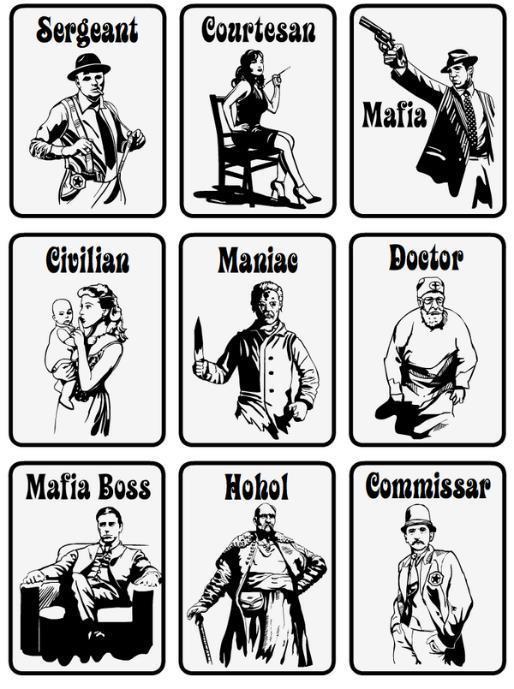 Карточки со статусами в Мафии