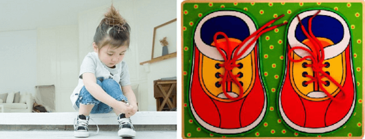 Шнуровка в форме двух детских красных ботинок с завязанными шнурками