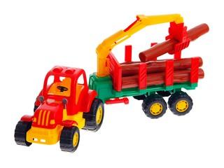 """Трактор """"Крепыш"""" с полуприцепом-лесовозом. Вид 1"""