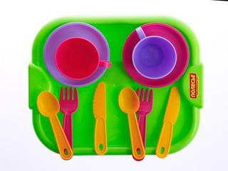 Набор посуды с подносом минутка на 2 персоны. Вид 1