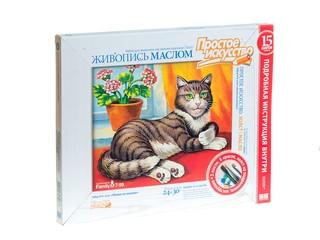 Набор для живописи масляными красками Кошка на окошке. Вид 1