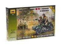 Советский мотоцикл М-72 с коляской и экипажем . Вид 1